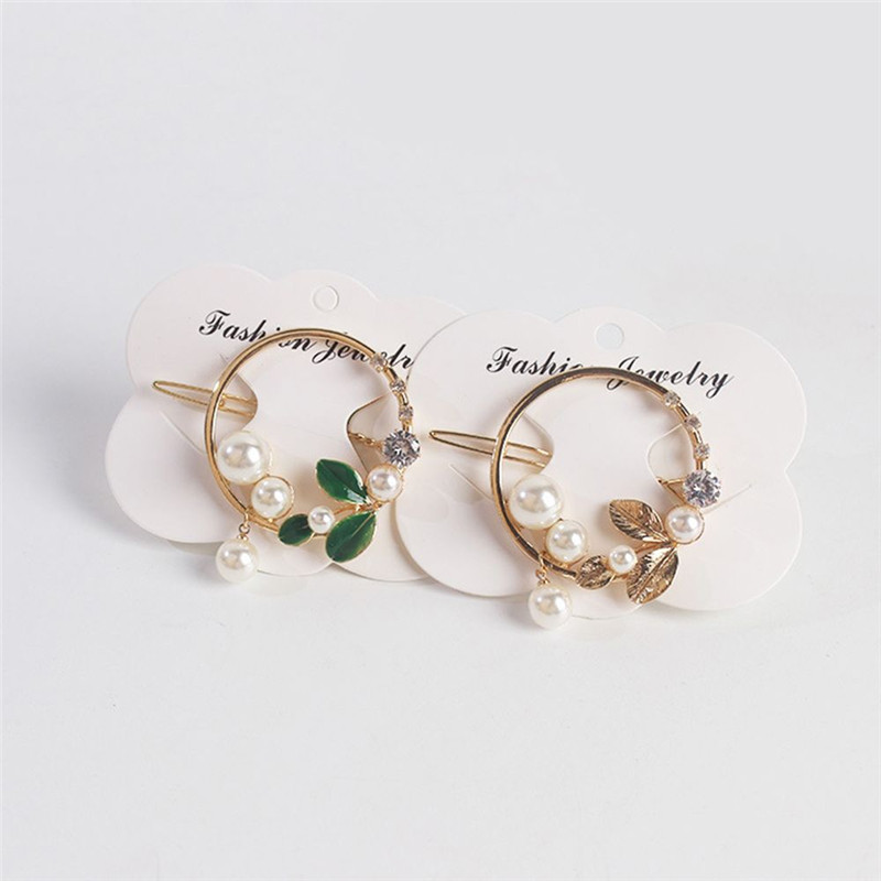 2019-New-Fashion-Women-Girls-Gold-Green-Leaf-Metal-Circle-Moon-Hair-Clips-Alloy-Round-Pearl (3)