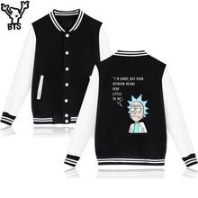 BTS Rick And Morty Baseball Jacket Sweatshirt Men Winter Casual USA Cartoon Hoodies Men Sweatshirt Funny Fashion Jacket Clothes