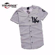 2016 New Last King LK KNYEW 07 MISBHV Striped Baseball Jersey T Shirts Men Women Mesh V-Neck Jersey Hip Hop Street T-Shirts Tee