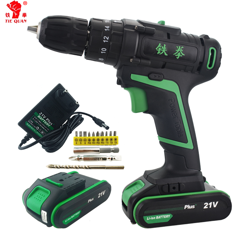 21V New Style Electric Power Battery Drill Home Diy Power Impact Drill Electric Screwdriver Hand Drill Cordless Tools Rotary Bit drill buddy cordless dust collector with laser level and bubble vial diy tool new