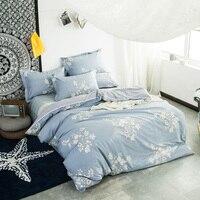 Eleganckie Białe Kwiaty Niebieski Bedlinens Królowa Król W Pełnym Rozmiarze Zestawy Kołdrę Tkanina Bawełniana Cartoon Dostosowane Zestawy Pościeli