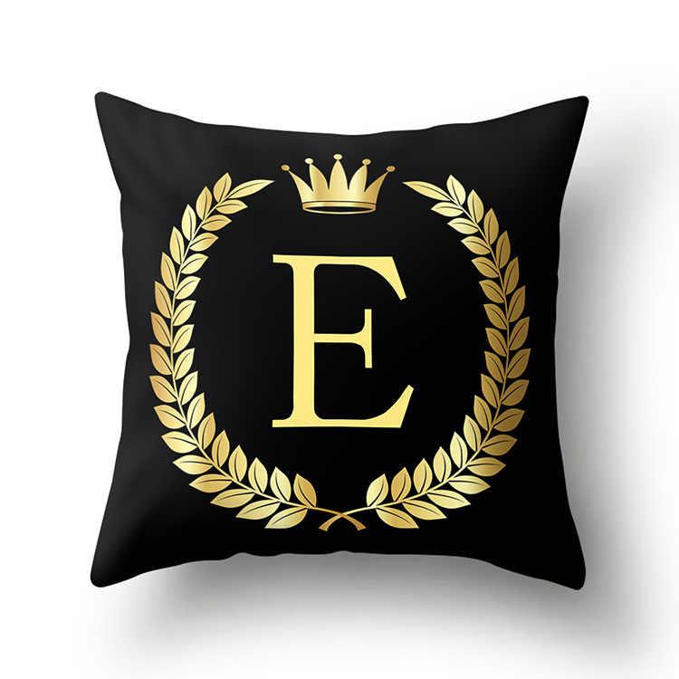 43*43Cm Zwart Golden Alfabet Letter Crown Polyester Kussenhoes Decoratieve Kussens Voor Sofa Thuis Decoratie Kussensloop 40553