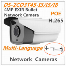 "Multi language DS-2CD3T45-I8 4MP 1/3 ""CMOS IR 80 m EXIR Bullet ICR Cámara de red CCTV Cámara H.265 day & night HD en tiempo real POE"