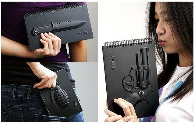 Wholesale Black 4 New design Creative Notebook Grenade Rambo knife Revolver Notebook Notepad + nice pack / best gift 30sets/lot