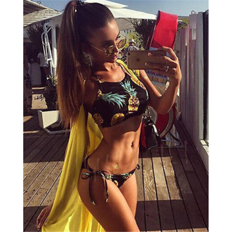 2017 Sexy Women Bikinis High Neck Thong Bikini Set Pineapple Swimwear Swimsuit Brazilian Maillot De Bain Bathing Suit Bequini new sexy swimwear women bikini set halter unpadded bra tankini two piece high neck print swimsuit bikini 2017 maillot de bain