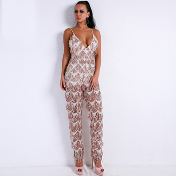 2019 Jumpsuit Sexy Deep V-Neck Spaghetti Strap Women Sleeveless Night Club Bodycon Backless High Quality Jumpsuit Wholesale фото
