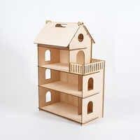 Maison de poupée meubles bricolage Miniature 3D en bois Miniaturas maison de poupée jouets pour enfants cadeaux d'anniversaire Casa chaton journal lol 000-674