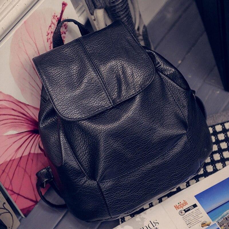 DALFR PU Leather Backpack Women Teenage Girl Fashion School Bag 16 Inch Black Leather Bag