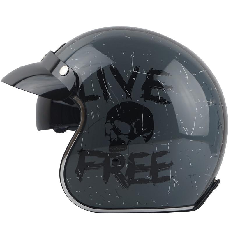 TORC casco capacete casques vintage T57 moto café racer moto rcycle scooter 3/4 rétro open face casque M L XL avec sunney visière