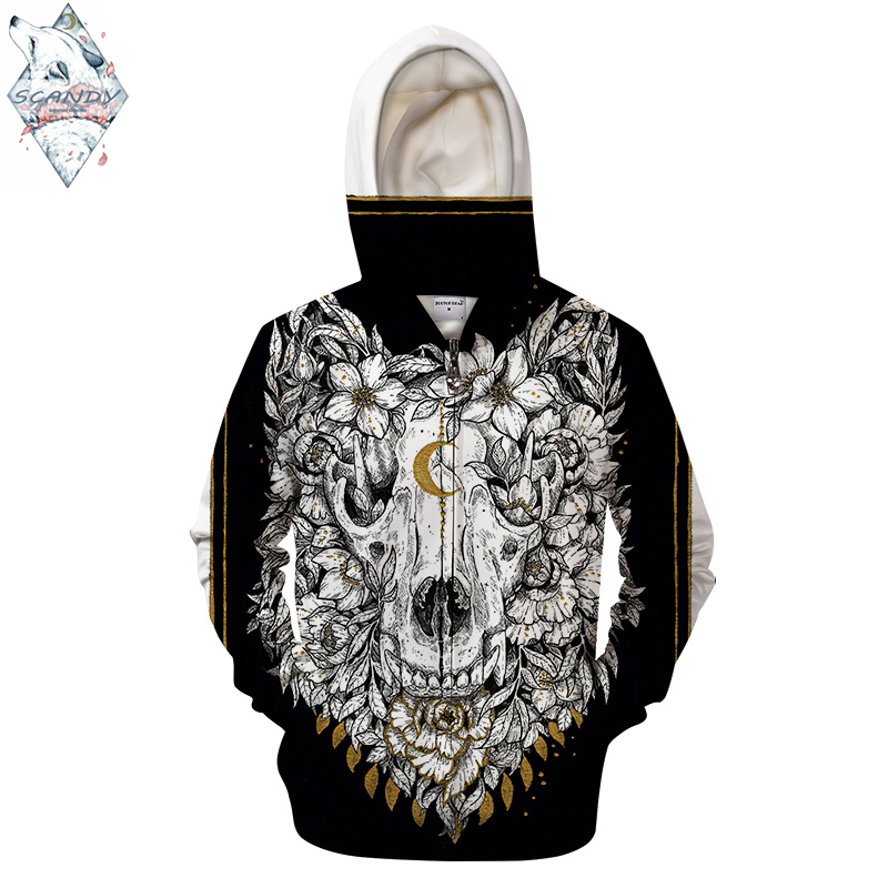 Wolf Skull By Scandy Girl Art 3D Print Hoodies Men Casual Sweatshirt HoodedTracksuit Brand Pullover Unisex Jacket Coat Zipper