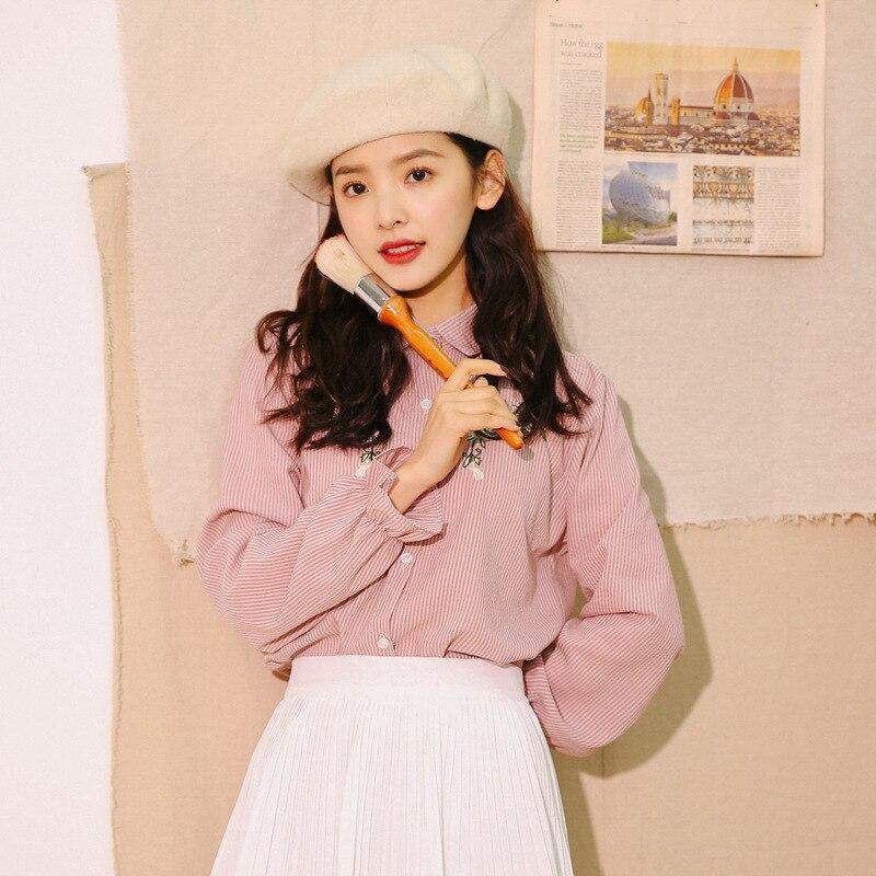 Camisas Mujer Manga Tops Sólido 2018 Mujeres Stripedlong Blusas Y Caqui Linterna De rosado Ropa Femenina d4qEtxwt0