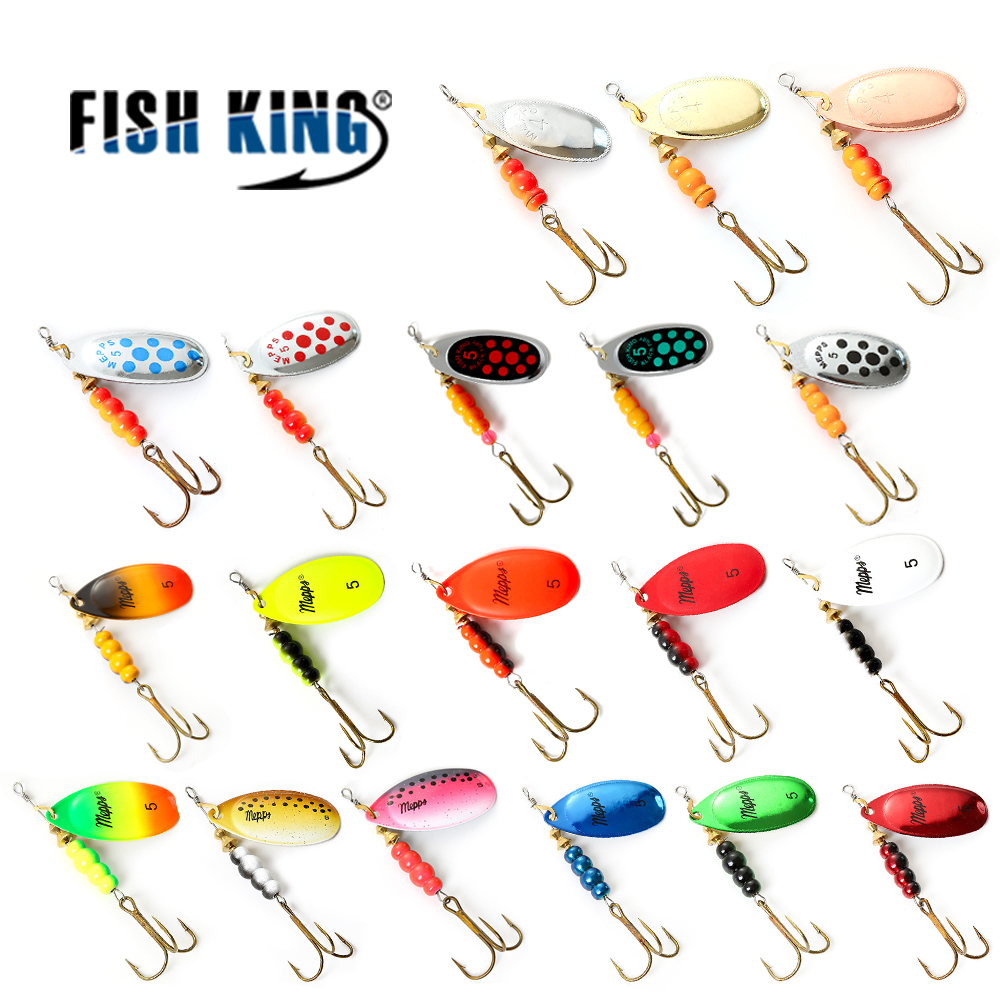 FISH KING 3Pcs/Lot Size 1#-5# Mepps Spinner Bait Mix color Artificial Bait With Mustad Treble Hook 35647-BR Fishing Lure fish king willow shaped spinner bait 1pc 4 color size1 size5 fishing lure mepps bass hard baits spoon with treble hook tackle