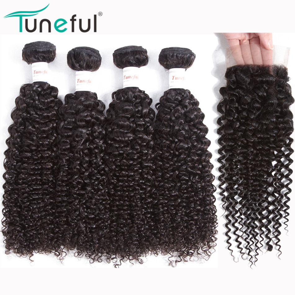Malaysian Curly Hair Bundles With Closure Tuneful 100% Remy Hair Weft Weave No Tangle Full Human Hair 4 Bundles With Closure