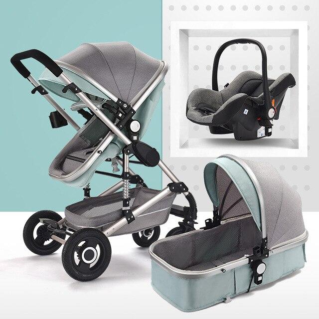 Poussette bébé 3 en 1 poussette pliable bébé buggy Portable voyage landau bébé poussette nouveau-né bébé voiture peut s'asseoir peut mentir