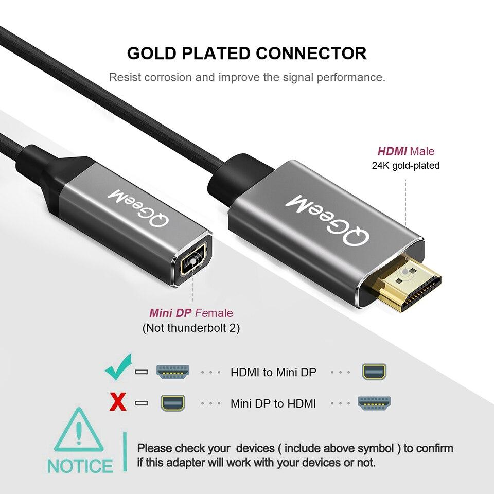 Image 3 - HDMI zu Mini DisplayPort Адаптер конвертера Kabel 4 K x 2 K HDMI zu Mini DP адаптер HDMI ausgestattet System Mini DP auf HDMI-in Кабели HDMI from Бытовая электроника