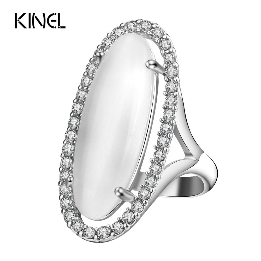 Kinel 2017 New Opal Ring Silver Color Vintage Wedding Jewelry Mosaic Crystal Fashion Party Rings For Women Anniversary Gift in Rings from Jewelry Accessories