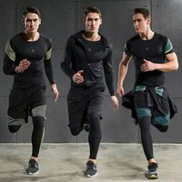 Hot Men's Running Sets 4pcs/set Compression Quick Dry Sports Suits Basketball Tights Workout Gym Fitness Kits Jogging Sportswear