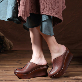 Wedges Slippers Women 2019 Slides Sandals Shoes Women Genuine Leather Closed Toe Handmade Comfortable Women Flat Shoes 8