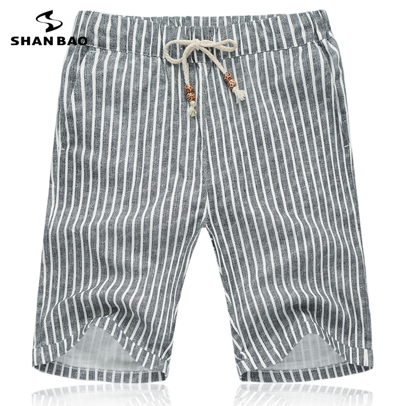 SHAN BAO breathable Cotton   shorts   2019 summer brand clothing gray striped fashion   shorts   Men's Size M-5XL
