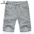 SHAN BAO breathable linen shorts 2017 summer brand clothing gray striped fashion shorts Men's Size M-5XL