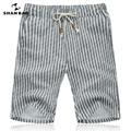 SHAN BAO respirável calções de linho 2017 verão marca de roupas cinza listrado moda shorts dos homens Tamanho M-5XL