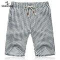 SHAN BAO transpirable pantalones cortos de lino 2017 del verano ropa de la marca gris a rayas pantalones cortos de moda de Los Hombres del Tamaño M-5XL
