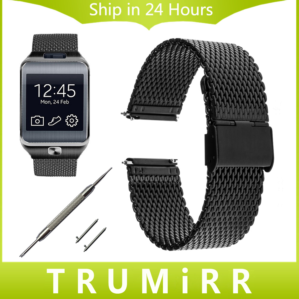22mm Milanese Watch Band Quick Release for Samsung Gear 2 R380 Neo R381 Live R382 Moto 360 2 46mm Stainless Steel Strap Bracelet cowhide genuine leather watch band 22mm for samsung gear 2 r380 r381 r382 quick release strap wrist belt bracelet
