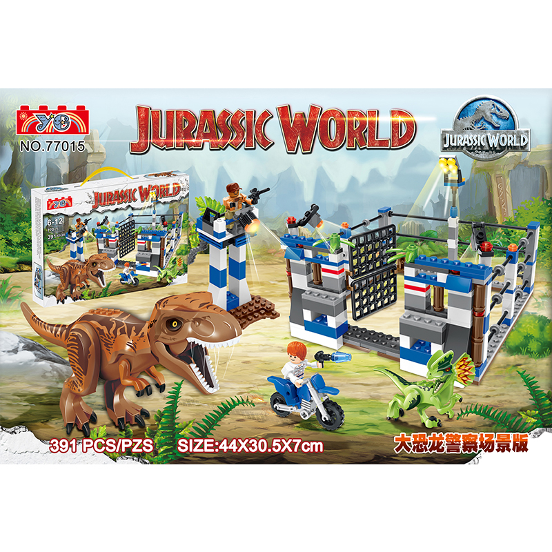 Dr.tong Yg77015 Building Blocks Jurassic World Tyrannosaurus Triceratop Dinosaur T-rex Police Cs Weapons Bricks Toys Child Gifts Supplement The Vital Energy And Nourish Yin Model Building