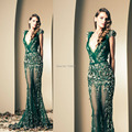 Envío gratis vestidos de noche verde apliques Cap manga de cuello V sirena pura vestidos baile 2015 Ziad nakad