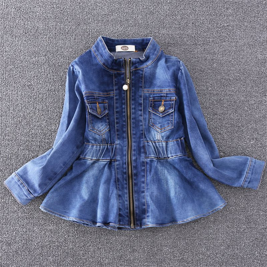 2-8 y denim jackets for girls fashion girls denim clothes long sleeve fitted waist jacket for girl zip coat цена 2017