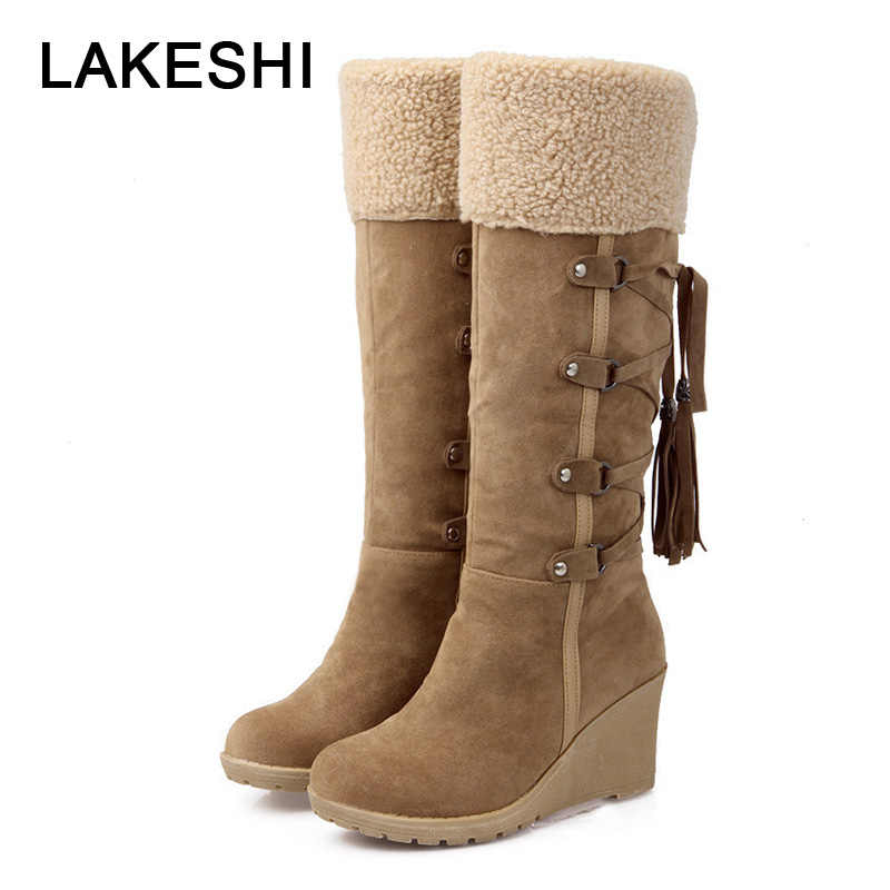 Vrouwen Winter Hoge Laarzen Plus Size 43 Vrouwen Mid-Kalf Laarzen Warme Snowboots Suede Wedge Laarzen Mode Cross -gebonden Dames Schoenen