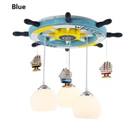 Mediterranean helm child room lamp kids ceiling light creative Wood led plafondlamp children Bedroom luminaire personality New
