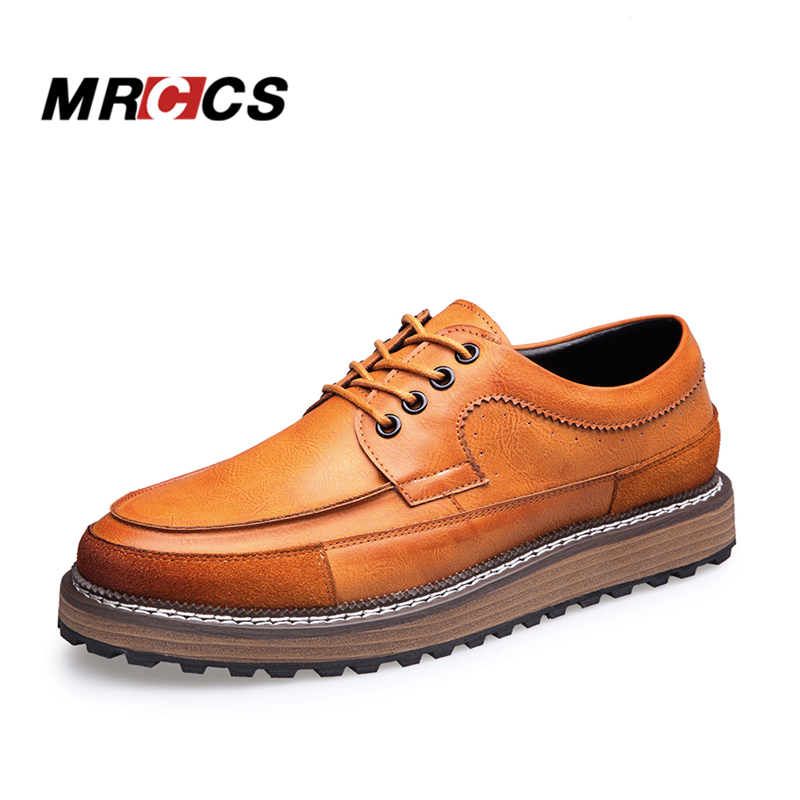 MRCCS Mens Trendy Thick Sole Leather Platform Shoes,Male Designer Style Casual Shoe,Black/Brown Slightly Height Increase Wedges