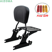 Motorcycle Luggage Sissy Bar Backrest Rack w/ Passenger Pad for Harley Heritage Softail Classic Deluex Custom Rocker C 2000 Up