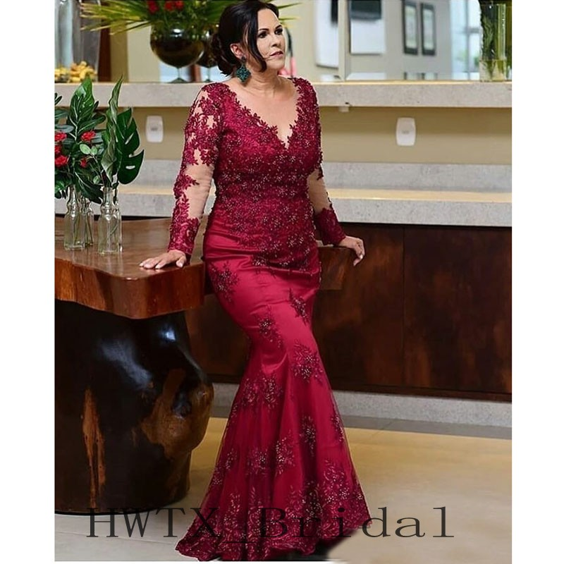 Long Sleeves Mermaid Mother Of The Bride Dresses Plus Size Illusion Sheer Vintage Lace Beaded Wedding Party Formal Gowns 2018