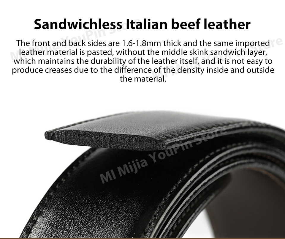 Original xiaomi mijia seven-sided Italian leather double-sided business belt 3.5cm two-color double-sided cut length (6)