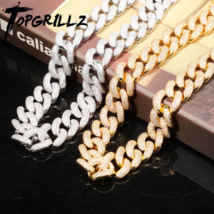 Image 2 - TOPGRILLZ 14mm 20mm Newest Box Clasp Micro Pave Iced CZ Cuban Link Necklaces Chains Luxury Bling  Jewelry Fashion Hiphop For Men