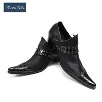 Christia Bella Genuine Leather Men Oxfords Black Business Men Formal Shoes Buckle Wedding Shoes Men Dress Shoes Plus Size 38 47