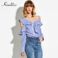 Kinikiss 2017 Ruffles Striped Casual Blouse Tops Women Long Sleeve Open Shoulder Bottom Irregular 2017 New