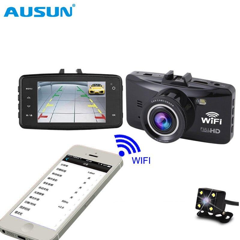 Wifi 2.7 pouces caméra 1080 p Full HD voiture caméra enregistreur tableau de bord écran LCD WDR double lentille g-sensor Vision nocturne DVR APP contrôle