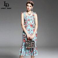 New 2017 Runway Designer Dress Summer Style Women Spaghetti Strap Crtstal Button Elegant Party Floral Print
