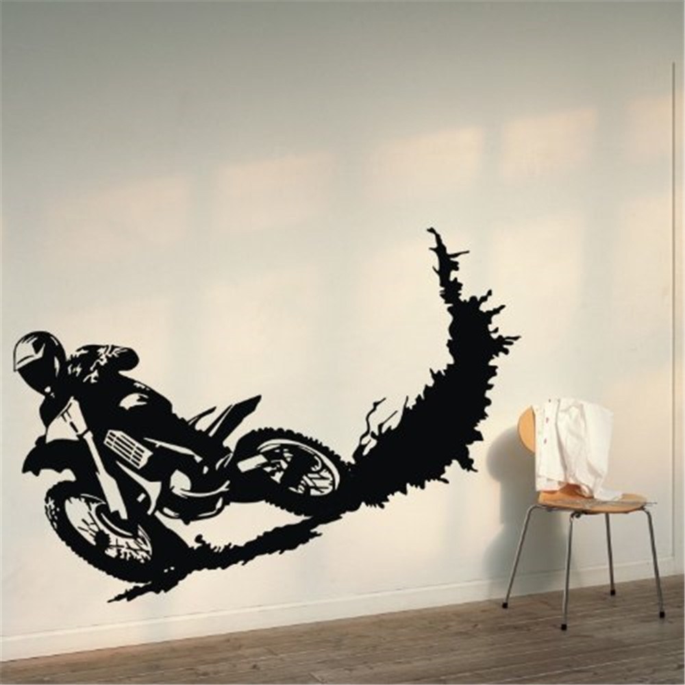 Superb Motorcycle Wall Stickers Part - 14: Motorcycle Racer Dirt Bike Motor Sport Vinyl Wall Decals Wall Decor Sticker  For Kids Room Wallpapers For Boys Bedroom
