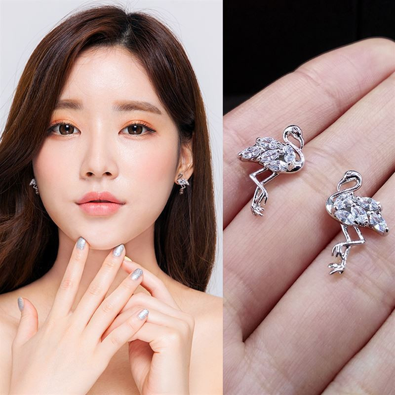 925 Sterling silver Stud earrings Set auger The swan Women 39 s fashion jewelry wholesale Holiday gifts in Stud Earrings from Jewelry amp Accessories