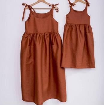Kids Girls Summer Candy Color Ruffles Halter Sundress Cotton Linen Cute Children Fashion Western Dress