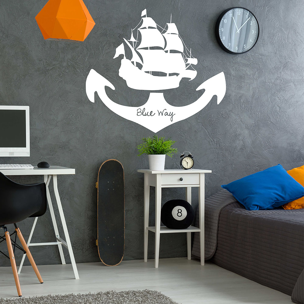 Sea Boat Wall Sticker Pirates Sticker Sailing Style Wall Decals Voyage Home Decor for Bedroom 693Q