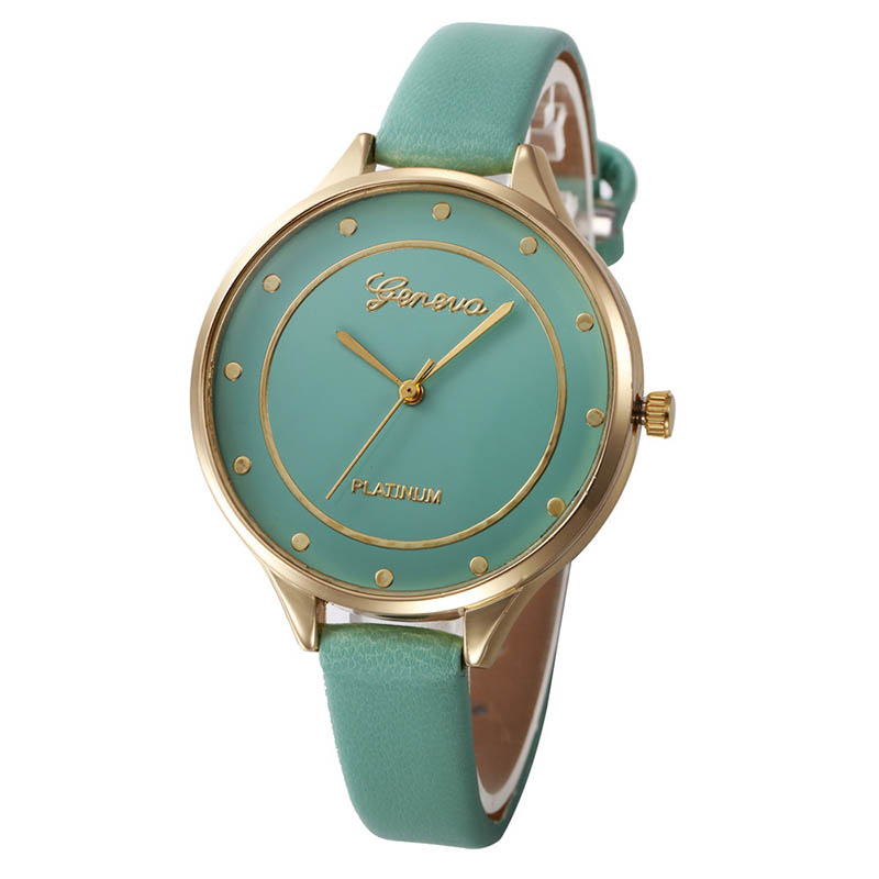 watch women luxury brand 2018 Geneva Ladies Slim Bracelet watch PU Leather Analog Quartz WristWatch relogio feminino clock time top luxury crystal brief design lady elegance slim strap leather wristwatch waterproof women quartz watch relogio feminino gift