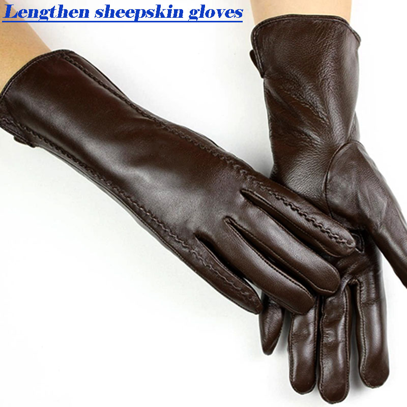 Sheepskin gloves women's mid-length striped style velvet lining autumn and winter warmth ladies brown leather finger gloves