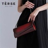 TERSE_Brand Handmade Calfhide Leather Bag For Women Ladies Clutch Bag Purple Vintage Purse Exclusive Design Logo Portfolio 9166