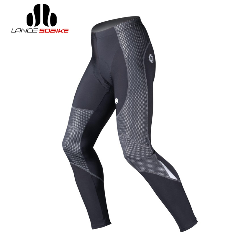 LANCE SOBIKE Windproof Winter Warm Running Pants Men Fleece Thermal Outdoor Sports Tights Pants Culotte Cycling