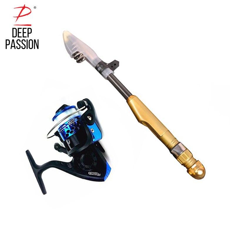 DEEP PASSION Mini Sea Fishing Rod Reel Set Telescopic Stick Rod Pole Carbon Fishing Rod Kit Portable Carp Pole Pesca Short Pole